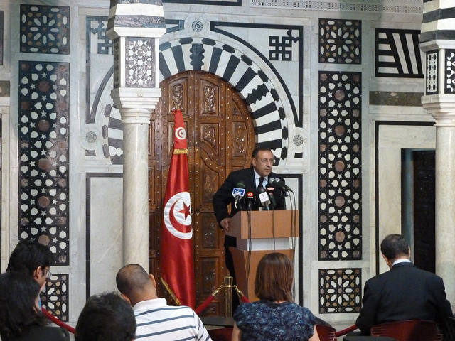Secretary General during a press conference in Tunis