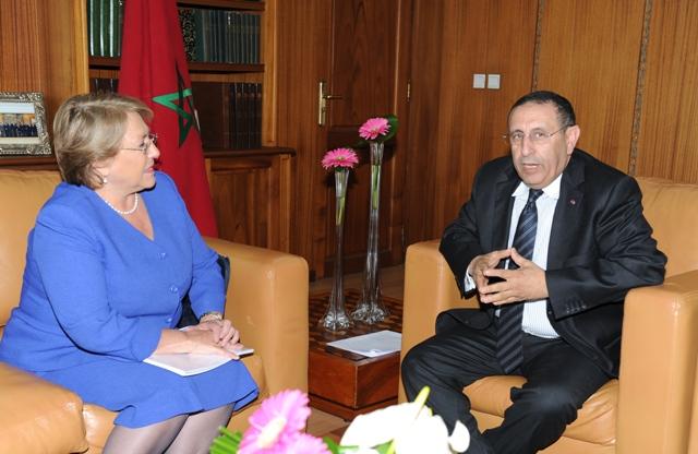M. Amrani reçoit la Directrice Exécutive de l'ONU-Femmes, Michelle Bachelet.