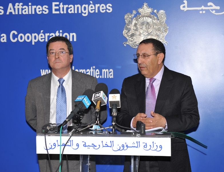 M. Amrani et M. Yves Rossier lors de la 3ème  session des consultations politiques entre le Royaume du Maroc et la Confédération Suisse