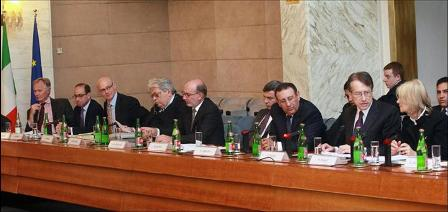 Minister Amrani and Minister Terzi during the Conference on