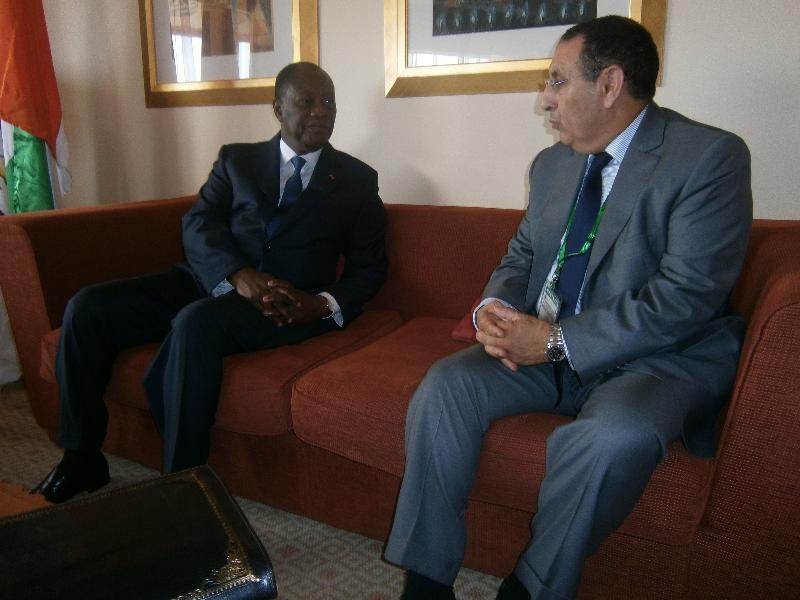 M.Youssef Amrani avec le Président de la République de Côte d\'Ivoire,Alassane Ouattara.
